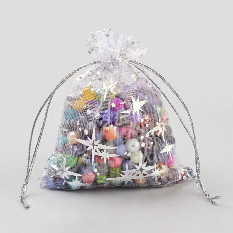 100 Drawstring Organza Bags Silver Tone Christmas Star Gift Pouches White 12x9cm
