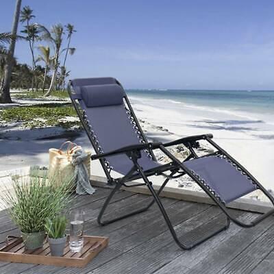 Folding Lounge Beach Recling Chairs In/Outdoor Garden Patio Recliner Armchair