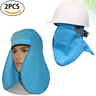 2p Helmet Sweatband Sun Shield Shade Face Protection Hard Hat Cooling Towel