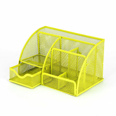 Mesh Storage Organizer Desk Desktop Holder Office Supplies Card Pen Tray Yellow