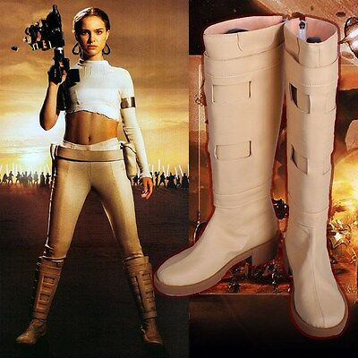 Padme Amidala Boots the Movie Star Wars Cosplay Shoes for Woman Beige PU BootsAA