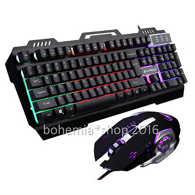 Metall Beleuchtet Tastatur Gaming Tastatur mit Gamer Maus 3200 DPI & USB Kabel