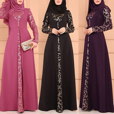 WOMEN ISLAMIC MUSLIM DRESS KAFTAN ABAYA PARTY LADIES VINTAGE MAXI DRESS STRICT