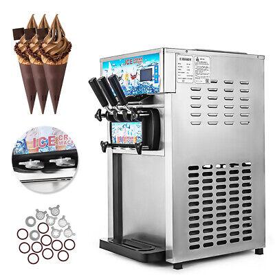 3 Flavor 110v Commercial Frozen Yogurt Soft Ice Cream Cones Maker Machine 18lh