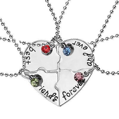4pcs Best Friend Forever Friendship Necklace Set Puzzle Piece Rhinestone Jewelry (Puzzle Piece Necklace Set)