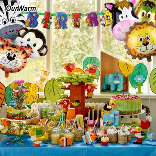 Details About Safari Party Banner Animals Balloons Jungle Theme Kids Birthday Decoration