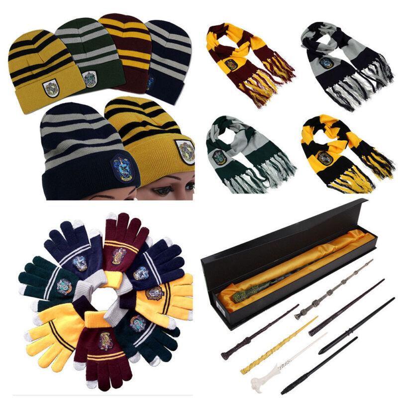 Harry Potter Gryffindor Slytherin Kinder Schal Handschuhe Hut Zauberstab Kostüm