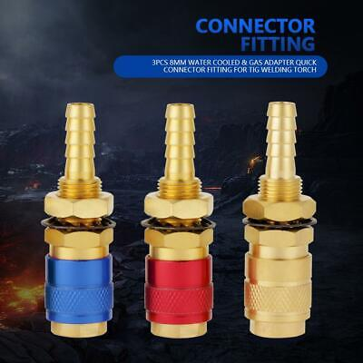 3 Pcs Water Cooled Gas Adapter Quick Connector Fitting For Tig Welding Torch