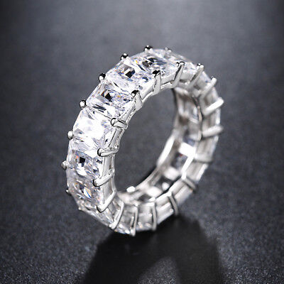 - Eternity CZ Round Square Cut Fashion Women Engagement Wedding Band Ring Sz 6-11