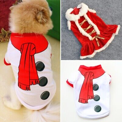 Cute Dog Puppy Christmas Santa Warm Costumes Coat Clothes Pet Apparel Shirts US