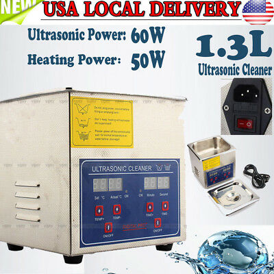 1.3l Stainless Industry Digital Ultrasonic Cleaner Heater Timer Jewel Clean Tank