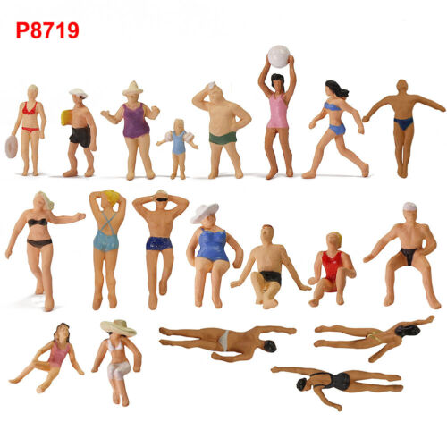 40pcs 1:87 HO Scale Seaside Visitors Swimming People Figures P8719
