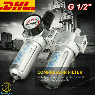 G12 Air Compressor Filter Oil Water Separator Trap Tools With Regulator Gauge