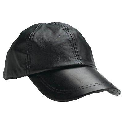 Mens Baseball Cap Genuine Leather Adjustable Size Solid Black Sport Hat Ball (Black Leather Baseball)