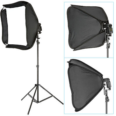 NEEWER Portable 60*60CM Hotshoe Softbox for Speedlite + 260CM Light Stand Kit