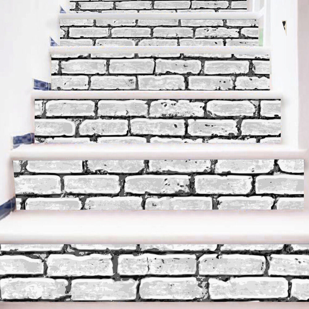Diy 3d white brick stair risers decor photo mural vinyl for Brick wall mural decal