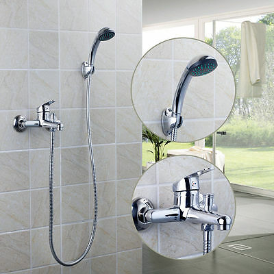 US Bathtub Shower Faucet Handheld Spray With Control Value Mixer Taps Kit Bath Shower Mixer Kit