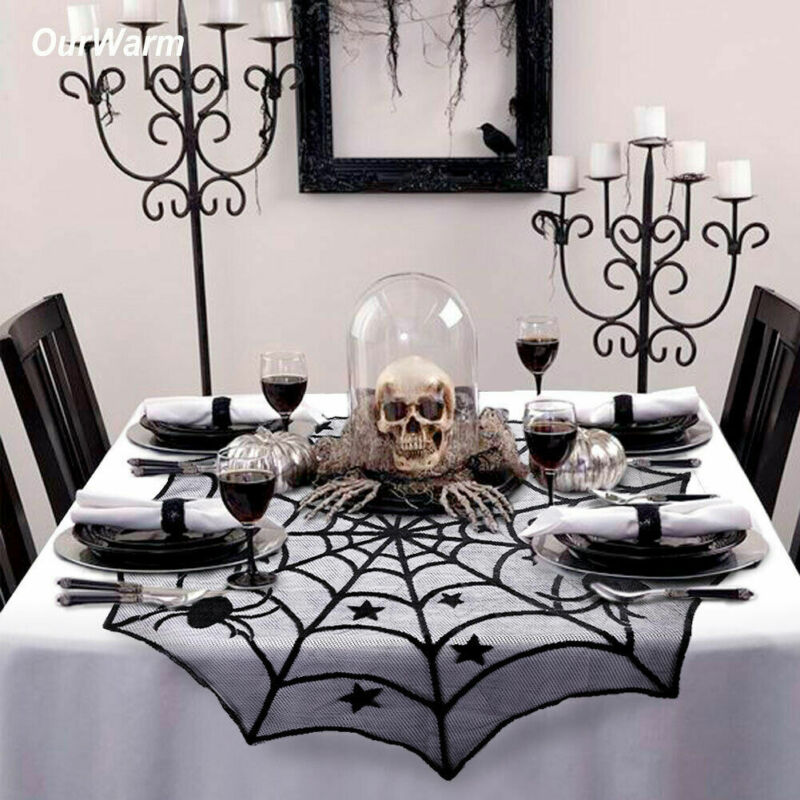 Scary Halloween Lace Table Cloth Cover Door Window Curtain P