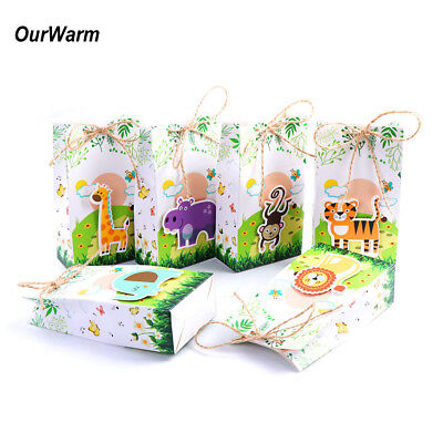6×Paper Candy Box Kids Animal Theme Jungle Birthday Party Candy Treat Gift Bags - Jungle Themed Parties