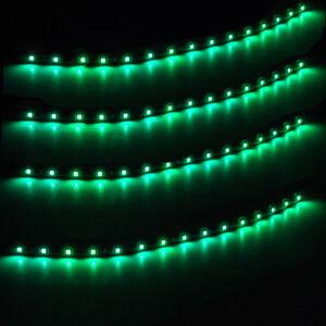 4PCS Car 12V Green Waterproof 30mm 3528 LED Strip Lamp Undercar Interior Lights