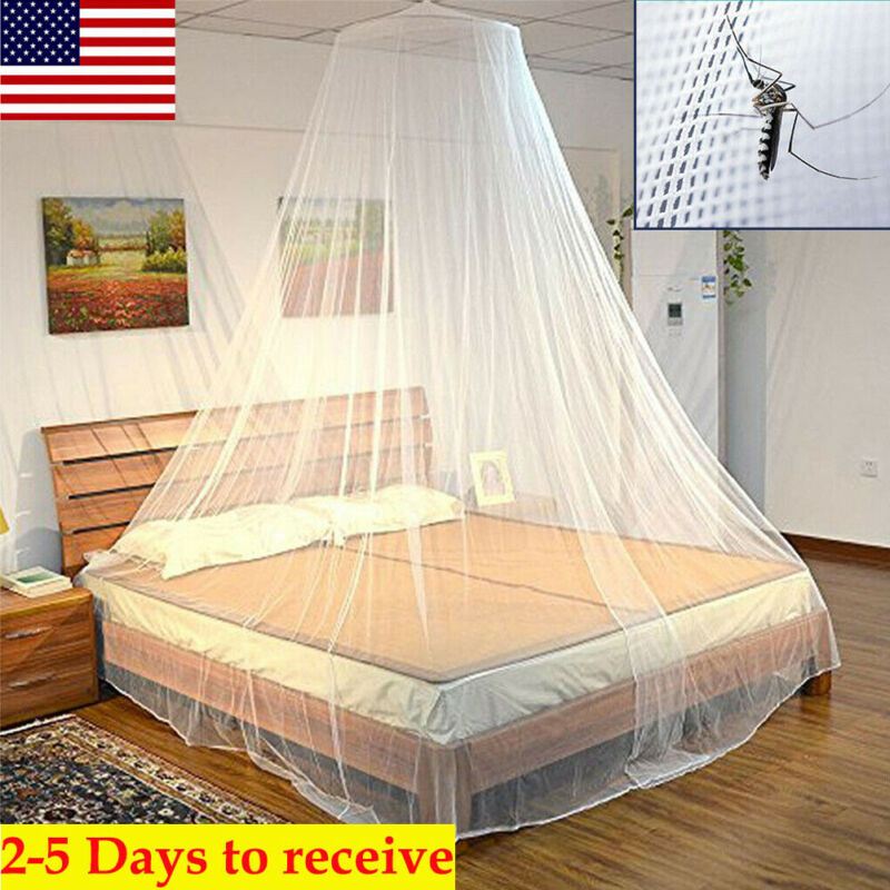 Mosquito Net Bed Queen Size Home Bedding Lace Canopy Elegant Netting Princess US