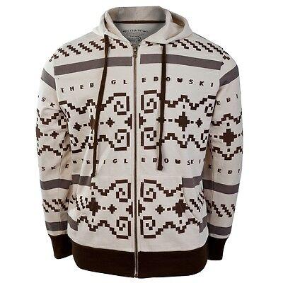 Big Mens Hoodie - Big Lebowski - Sweater Zip Costume Mens Hoodie - Ivory Off