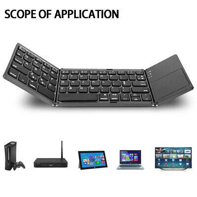 Bluetooth Keyboard Touchpad Foldable Tri-fold Triple Wireless For iPad iPhone PC