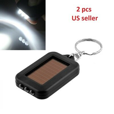 2x Mini Solar Power 3LED Light Keychain Keyring Torch Flash Flashlight Gift US