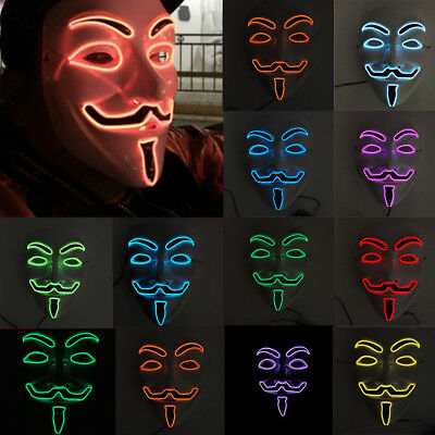 LED Mask V für Vendetta Maske Guy Fawkes Anonymous Halloween Party Masken Kostüm