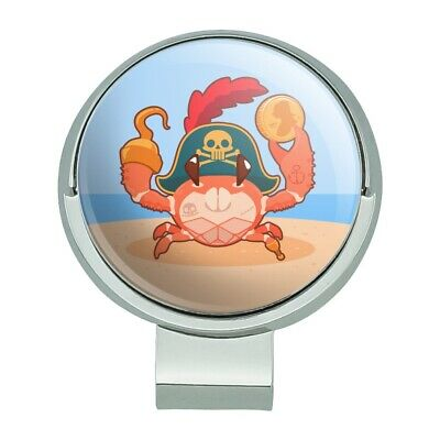 Pirate Crab on the Beach with Hook Golf Hat Clip With Magnetic Ball - Balls On The Beach