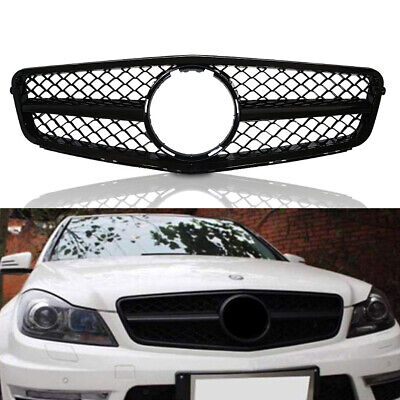 07-14 Mercedes Benz C Class W204 AMG Style Front Grille Gloss Black C300 C350