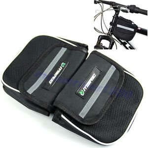 Bike-Bicycle-Cycling-Frame-Pannier-Double-Saddle-Front-Tube-Mesh-Cell-Phone-Bag