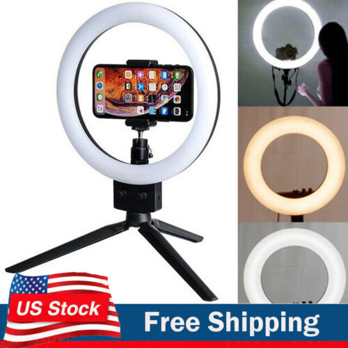 Ring Light Mini LED Camera Lamp with Tripod Stand Phone Hold