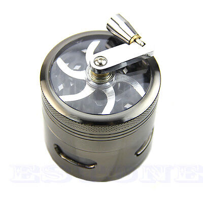63mm 4 layer Zinc Alloy Hand Crank Herb Mill Crusher Tobacco Smoke Grinder