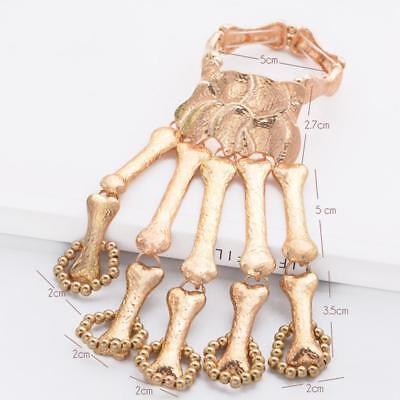 Punk Gothic Bracelet Devil Talon Skeleton Skull Bone Hand Finger Ring Cuff - Skeleton Hand Ring Bracelet
