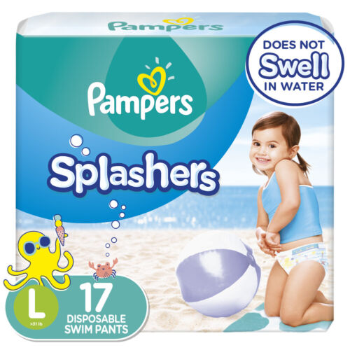PAMPERS SPLASHERS SNUG FIT SWIM DIAPERS 17 COUNT - SIZE LARGE 31-40 lb