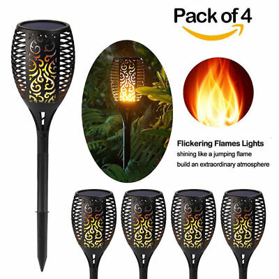 4Pcs 96 LED Solar Power Path Torch Light Dancing Flame Lighting Flickering Lamp