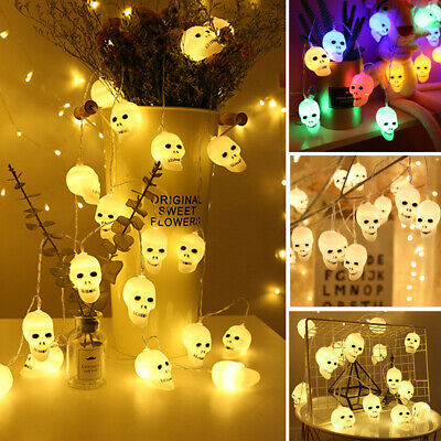 10/40LED Skull String Fairy Lights Lantern Party Home Props Halloween Decoration