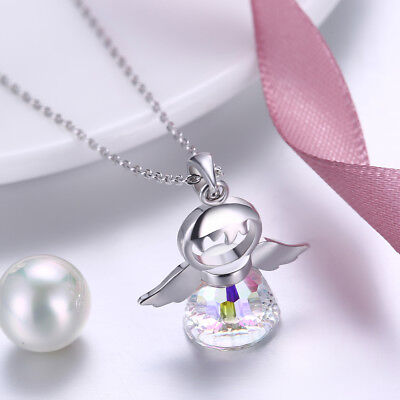 Angel Wing Charm Birthstone Pendant Necklace 925 Sterling Silver Memorial Faith