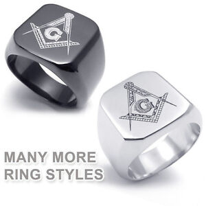 Freemasonry-Shack-Free-Mason-Ring-Choose-1-Tungsten-Silver-Gold-Masonic-Rings