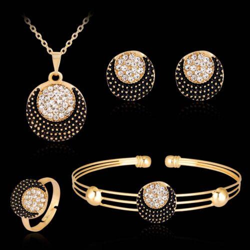 Women Sun and Moon Rhinestone Necklace Bracelet Ring Earrings Jewelry Set