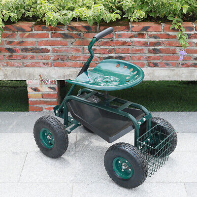OUTDOOR GARDENING CART WITH WHEELS ROLLING LANDSCAPE SEAT RELAX HANDLE & BASKET