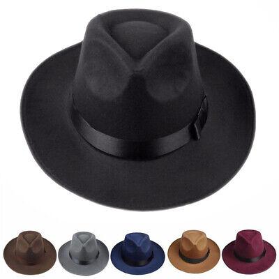 Herren Damen Hart Filzhut Breite Krempe Fedora Panama Hut Gangster Jazz Hüte
