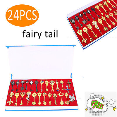24Pcs Set Cosplay Fairy Tail Lucy Anime Keys Necklace Pendant Keychain   Box Us