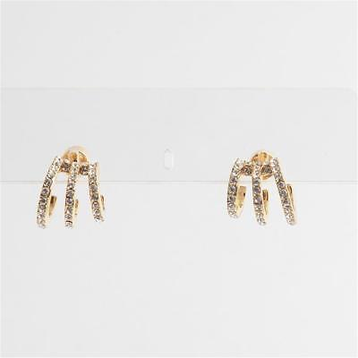 Michael Kors Modern Brilliance Crystal Pave Huggie Earrings Gold Tone