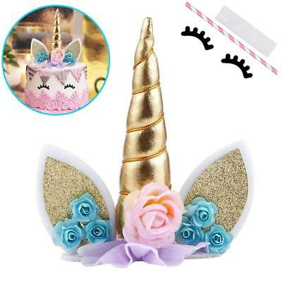 Unicorn Cake Topper W Eyelashes Party Decoration Supplies For Birthday Wedding B (Birthday Cake Supplies)