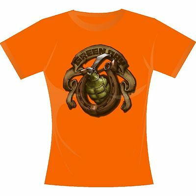 New: GREEN DAY - Grenade (Girlie Fitted Juniors) XL Orange Concert T-Shirt