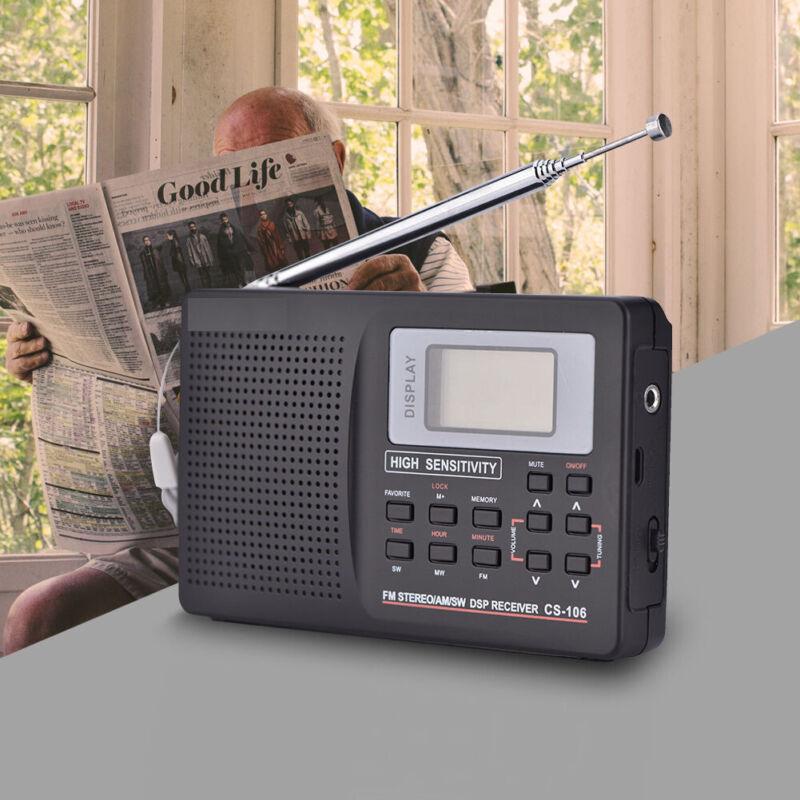 Portable Digital World Full Band Radio Receiver AM/FM/SW/MW/LW Radio Alarm Clock