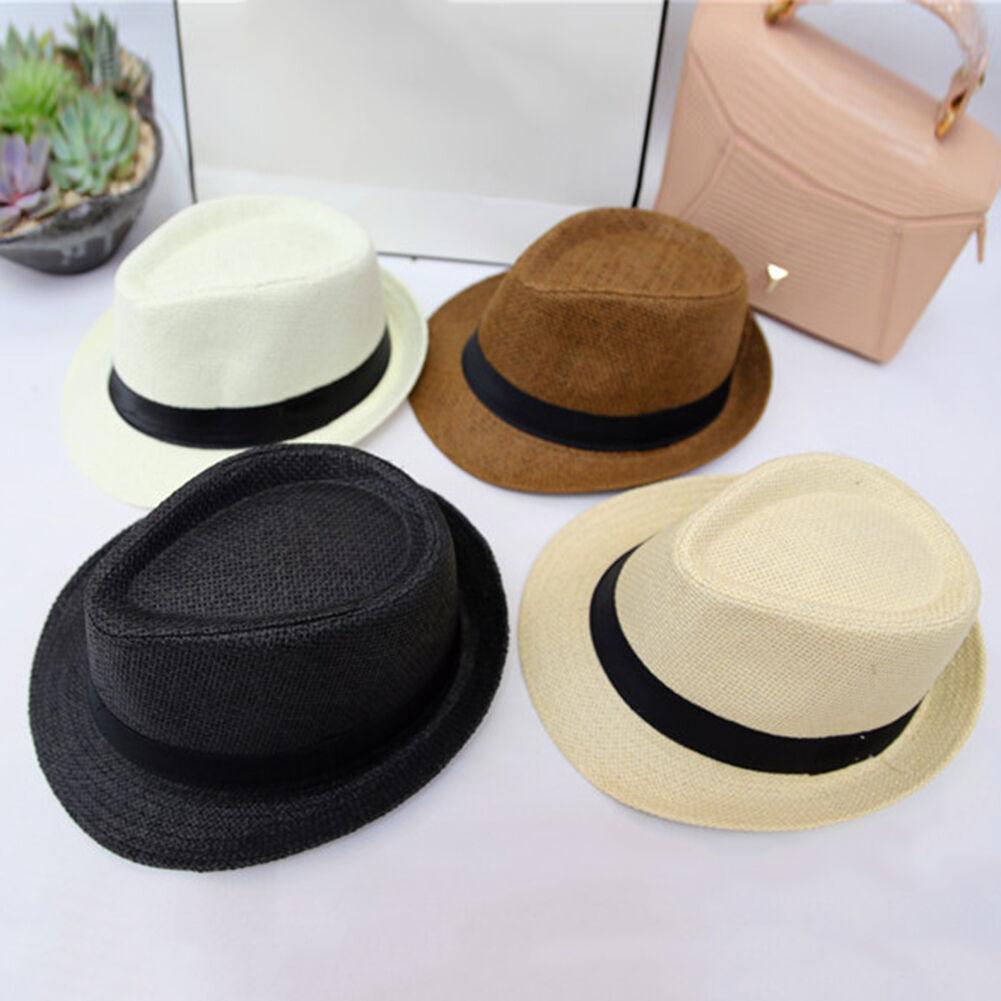 bf95fa28fa0 Details about Fashion Hats Men Women Fedora Trilby Wide Brim Straw Cap  Summer Beach Sun Panama