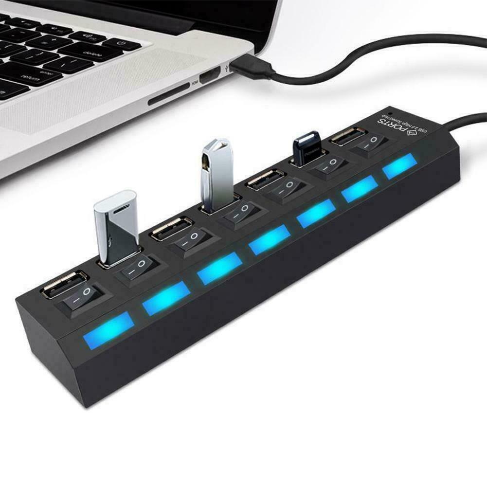 USB 2.0 Multi HUB 7Port Splitter Expansion Cable Adapter Lap